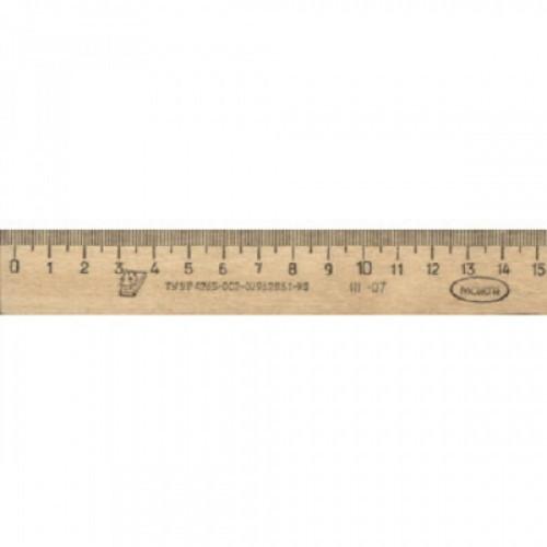 Линейка деревянная 15см, ЛП-150, С03