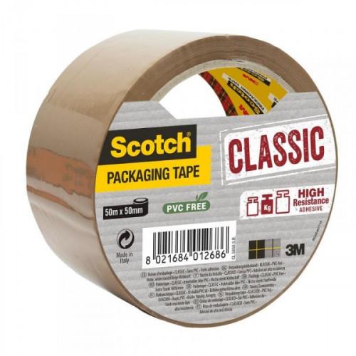 Клейкая лента упаковочная 3M Scotch Classic Хот Мелт коричневая 50 мм x 50 м плотность 43 мкм