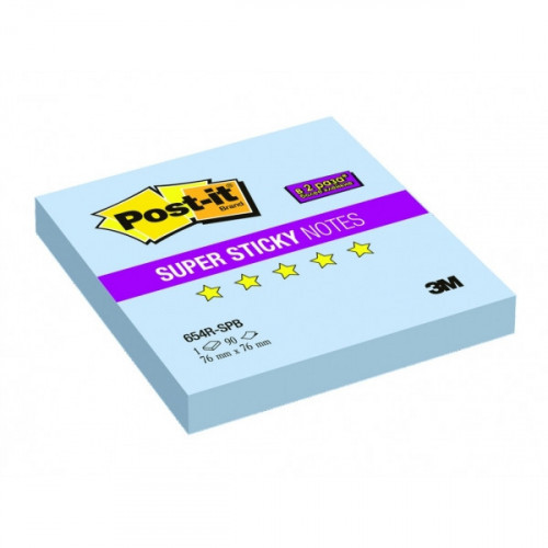 Блок-кубик Post-it Super Sticky 76х76 голубая пастель 90 листов