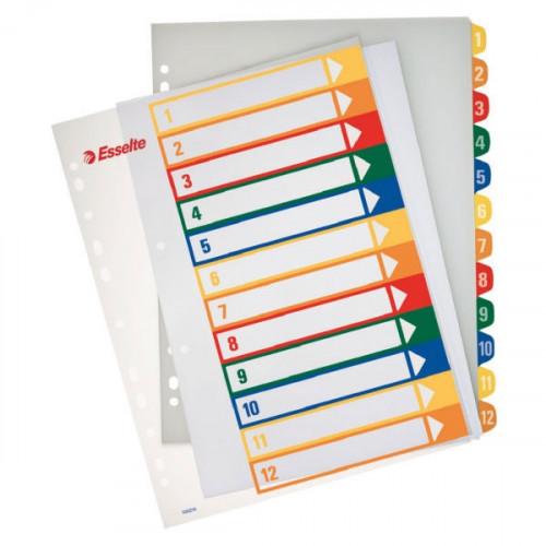 Разделители листов  Esselte прозрачный титульный лист  А4+ цифровые с цифрами 1- 12 пластик цветные