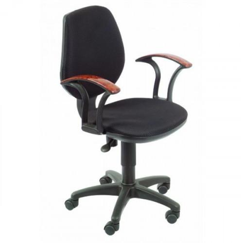 """Кресло (черное  JP-15-2, подлокотник """"под дерево"""" )"""