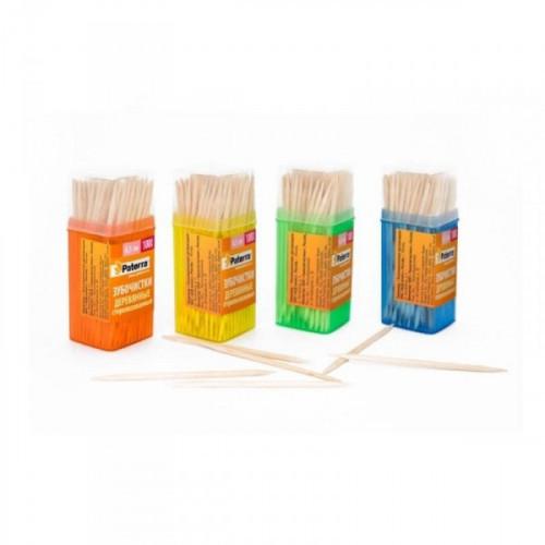 Зубочистки Paterra деревянные в ассортименте 100 штук в упаковке