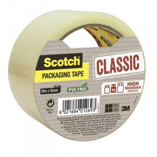 Клейкая лента упаковочная 3M Scotch Classic Хот Мелт прозрачная 50 мм x 50 м плотность 43 мкм