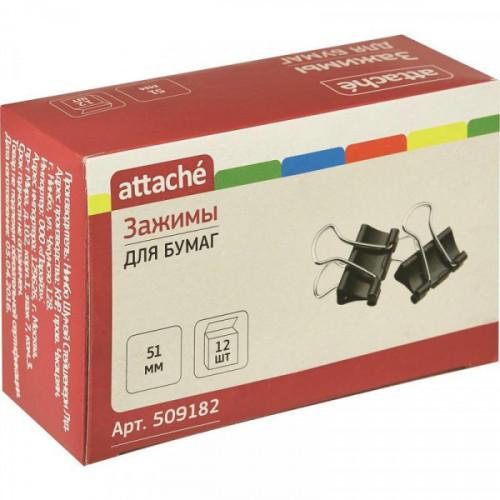 Зажим для бумаг 51мм 12шт/уп черные Attache