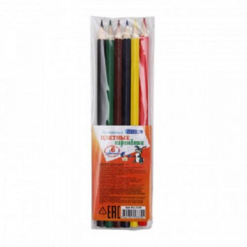 Карандаши цветные 6цв, 6-гран, дерев.корпус, КЦ-3339