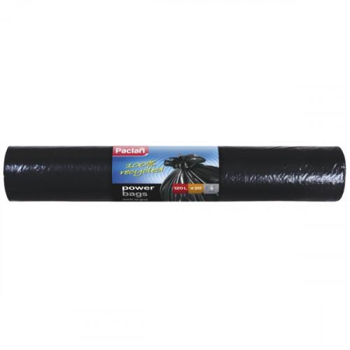 Пакеты для мусора PACLAN на 120 литров размером 110х70 см толщиной 75 мкм 20 штук в рулоне из ПВД черные