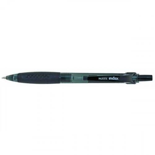 Ручка гелевая MAJESTIC автоматическая пластиковый корпус 0,5 мм черная INDEX