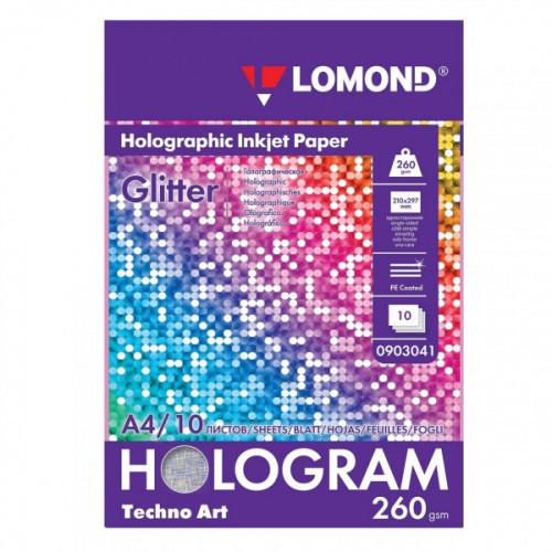 """Дизайн-бумага LOMOND с голографическими эффектами (""""блеск""""), А4, 260 г/м2, 10 листов, односторонняя, 0903041"""
