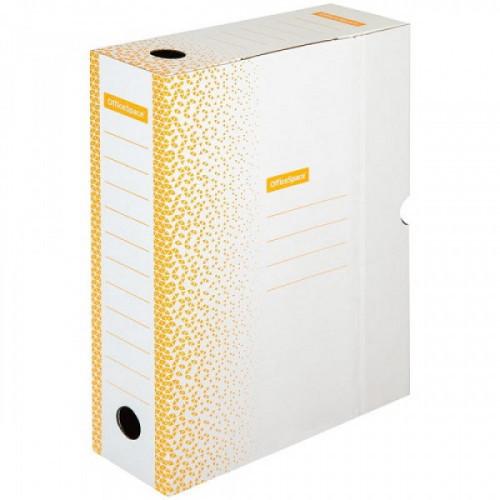 """Короб архивный с клапаном OfficeSpace """"Standard"""" плотный, микрогофрокартон,  75мм, оранжевый,до 700л"""