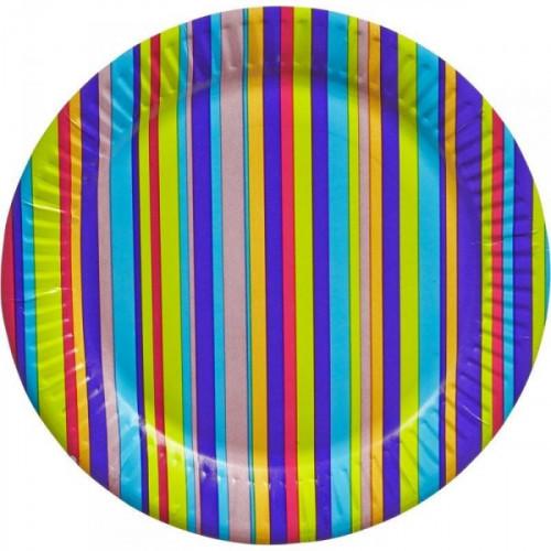 Тарелка одноразовая Джайв бумажная разноцветная с диаметром 180 мм 6 штук в упаковке