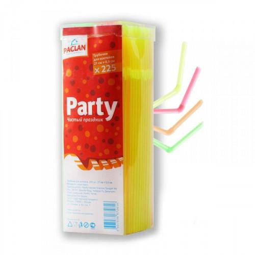 Трубочки для коктейля с изгибом из 4 цветов оранжевый зеленый желтый и розовый длиной 21 см 225 штук в упаковке