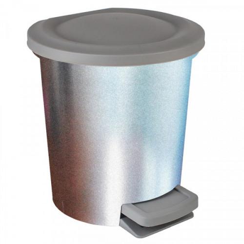 Ведро мусорное 6 л, пластиковое с педалью, прямоугольное с крышкой, с металлическим покрытием Svip
