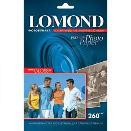 Бумага Lomond суперглянцевая  Премиум, 260г/м2, А5, 20 листов