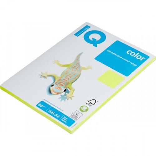 Бумага цветная IQ COLOR А4 80 г NEOGB-желтый неон пачка 100 листов