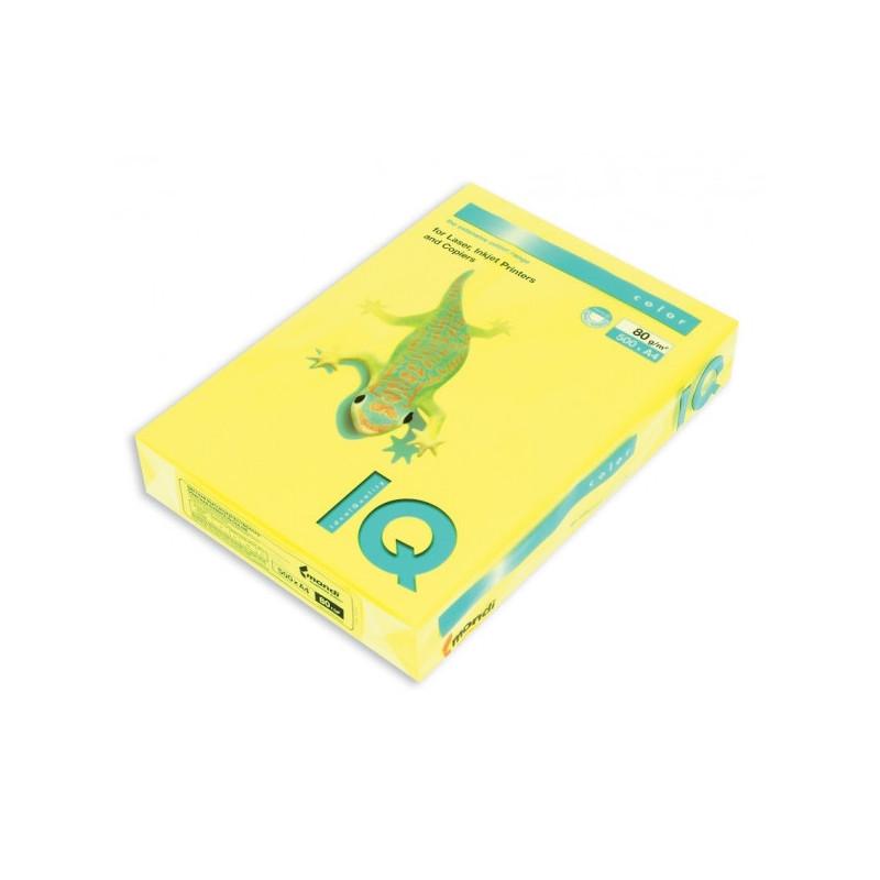 Бумага цветная IQ COLOR А4 80 г NEOGB-желтый неон пачка 500 листов