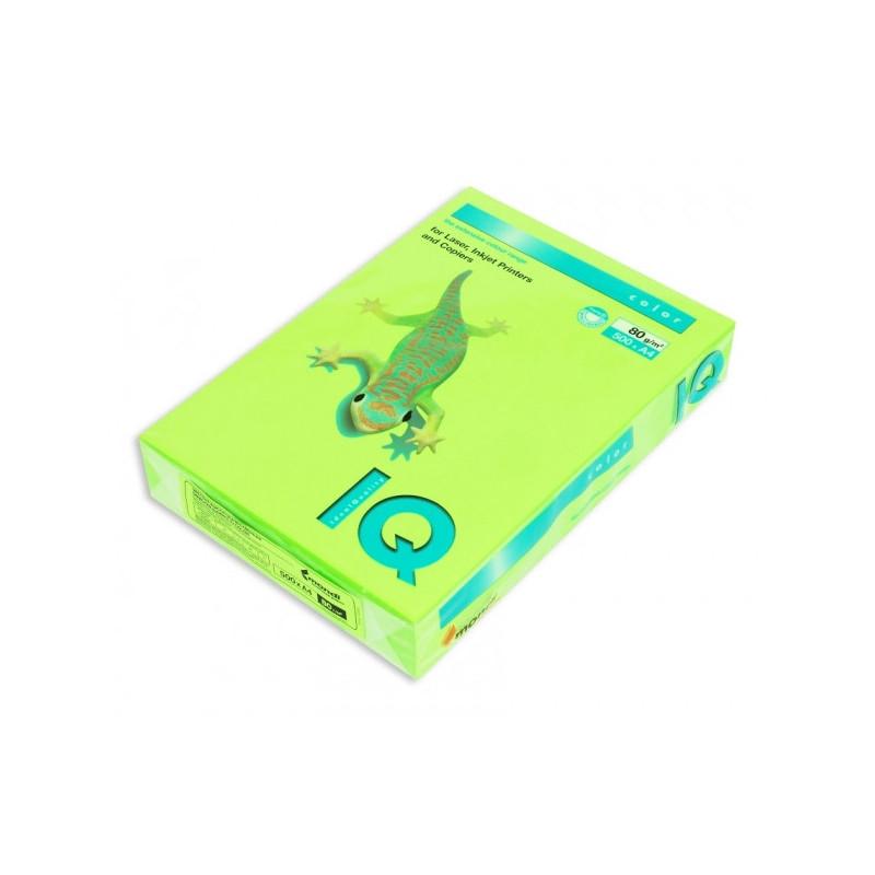 Бумага цветная IQ COLOR А4 80 г NEOGN-зеленый неон пачка 500 листов