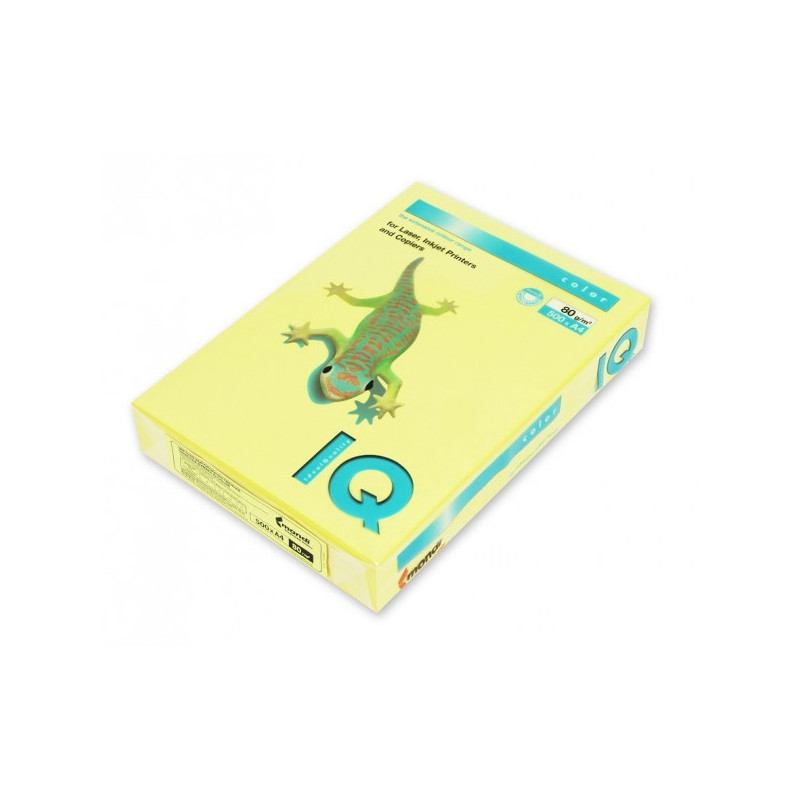 Бумага цветная IQ COLOR А4 80 г ZG34-лимонно-желтый пачка 500 листов