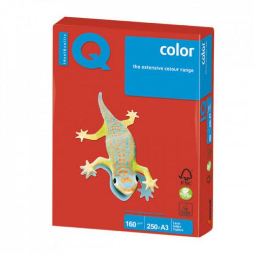 Бумага IQ color, А3, 160 г/м2, 250 л., интенсив, кораллово-красная, CO44