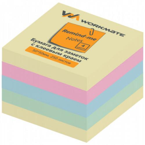 Cамоклеящийся блок OFFICE LINE, 50х50, 4 цвета, 250 листов