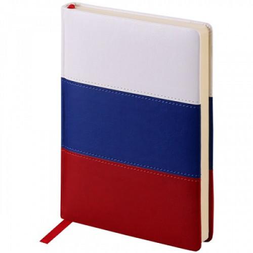 """Ежедневник недатированный, A5, 160л., кожзам, OfficeSpace """"Flag"""", триколор"""