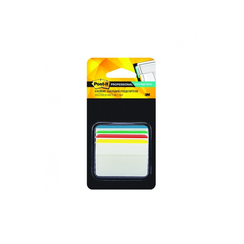 Закладки клейкие Post-it пластиковые 4 цвета по 6 листов 50.8х38.1 мм со сгибом