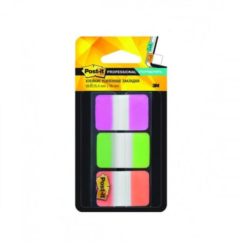 Закладки клейкие 3М пластиковые 25 мм усиленые 3 цвета по 22 листа неоновые