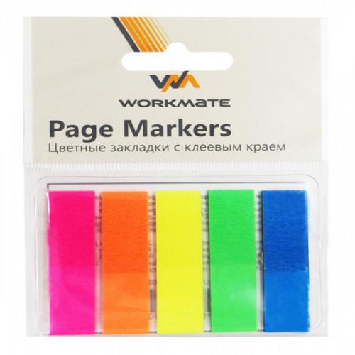 Клейкие закладки пластиковые, 45х12, 125 закладок, OFFICE LINE, 5 неоновых цветов