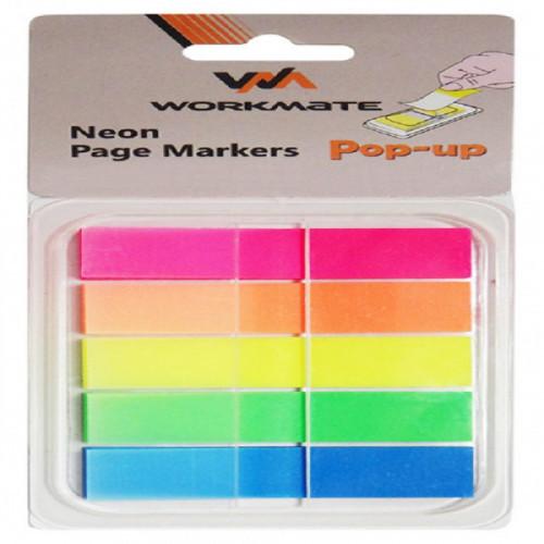 Клейкие закладки пластиковые, 45х12, 125 закладок, OFFICE LINE, 5 цветов, диспенсер