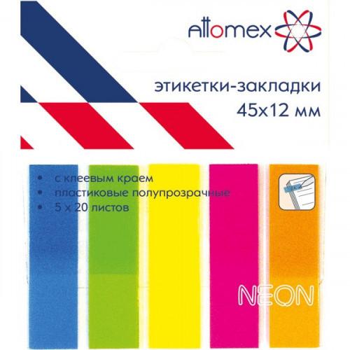 Клейкие закладки пластиковые, 45x12, 100 закладок, Attomex, 5 неоновых цветов, в пластиковом блистере