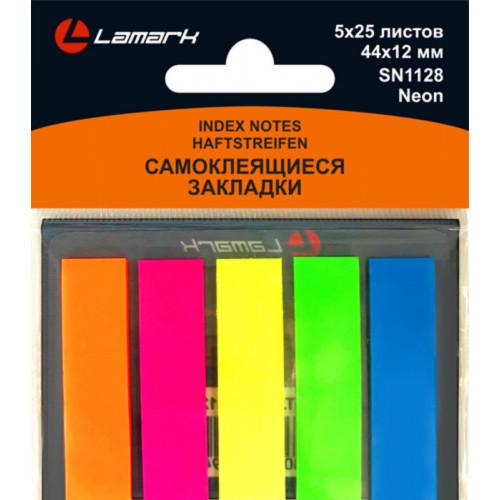 Клейкие закладки пластиковые, 44x12, 125 закладок, Lamark, 5 неоновых цветов