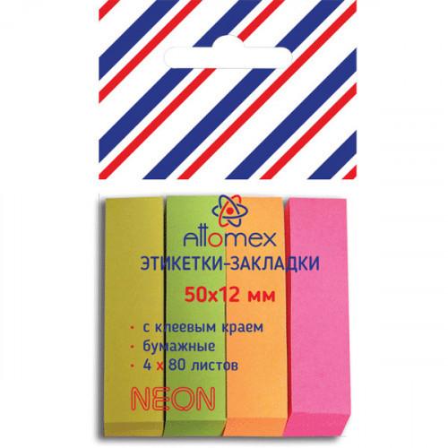 Клейкие закладки бумажные, 50х12, 320 закладок Attomex, 4 цвета неон