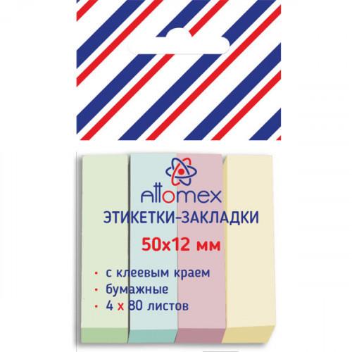 Клейкие закладки бумажные, 50х12, 320 закладок Attomex, 4 пастельных цвета