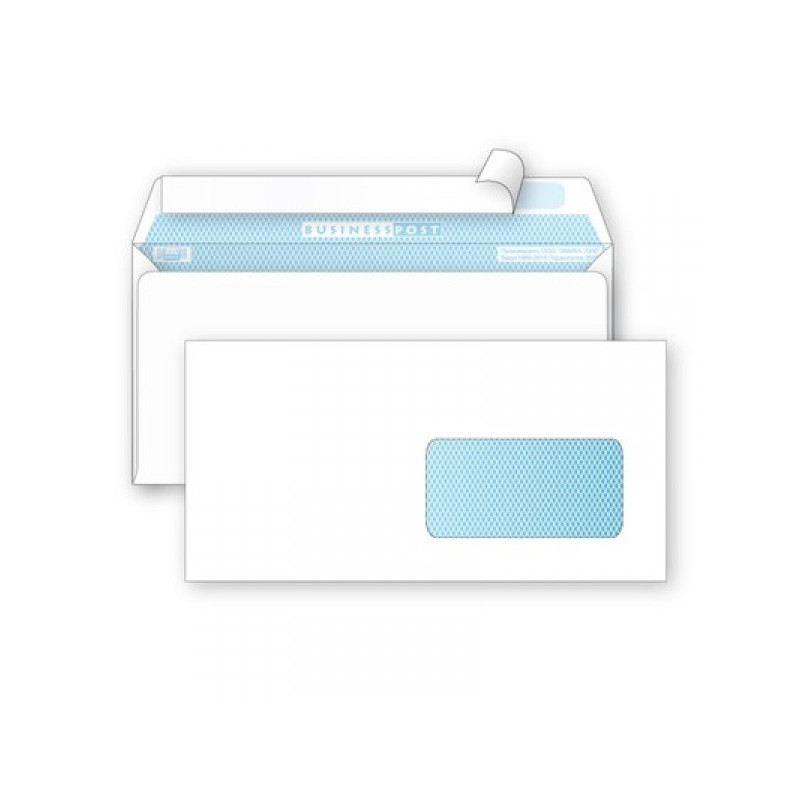 Конверт белый E65 стрип правое окно Debora/BusinessPost 110х220 мм 1000 штук в упаковке