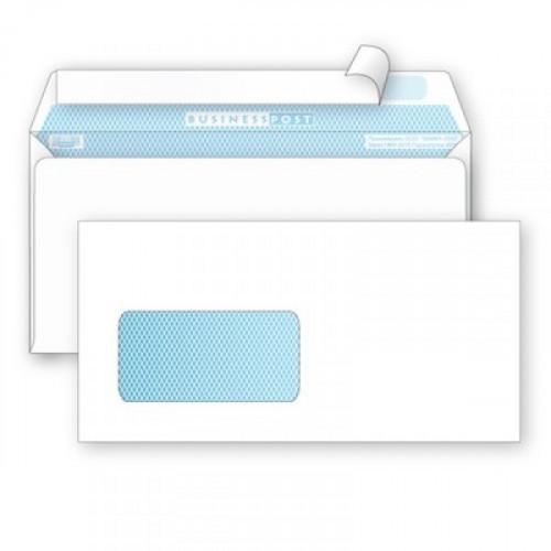 Конверт белый E65 стрип левое окно BusinessPost 110х220 мм 1000 штук в упаковке