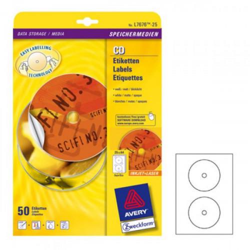 Самоклеящиеся этикетки для CD/DVD Avery Zweckform белые матовые диаметр 117 мм отверстие 17 мм 25 листов по 2 этикетки