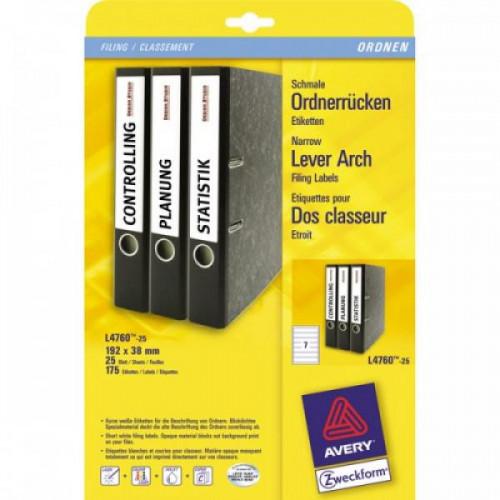 Самоклеящиеся этикетки Avery Zweckform для папок-регистраторов 50 мм белые 192x38 мм 7 штук на листе А4 25 листов (L4760-25)