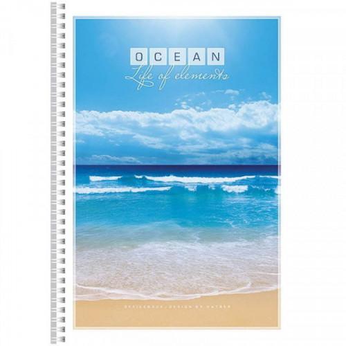 Тетрадь А4, 96л., клетка, на спирали, обложка мелованный картон, Океан