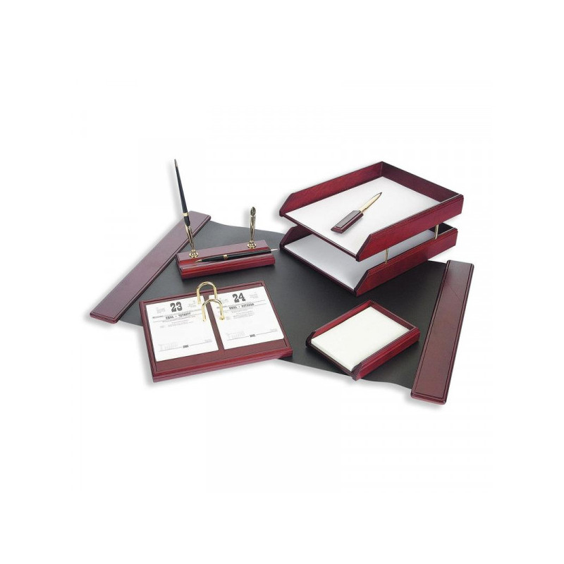 Набор настольный деревянный 6 предметов красное дерево темное