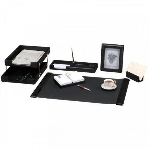 Набор настольный Delucci 6 предметов черное дерево фоторамка