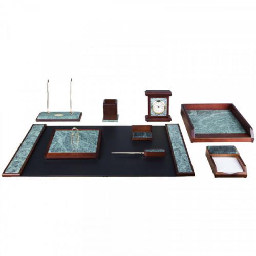 Набор настольный Delucci 9 предметов зеленый мрамор красное дерево часы в комплекте