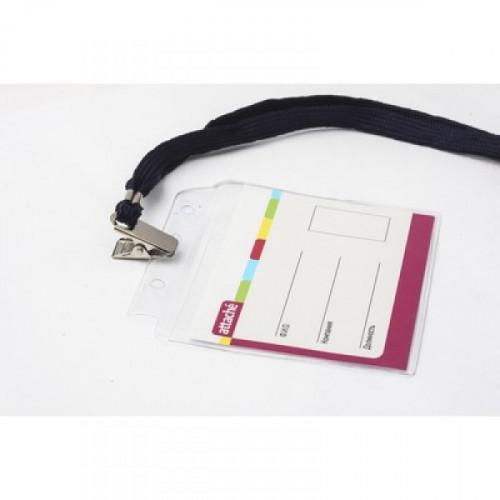 Бейджик с металлическим зажимом и тесьмой для карточек 107х83 мм Attache
