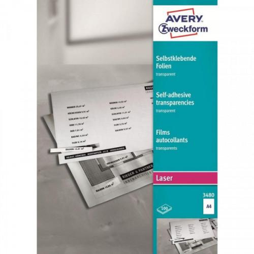Пленка самоклеящаяся для проекторов Avery Zweckform Z3480 матовая А4 100 листов