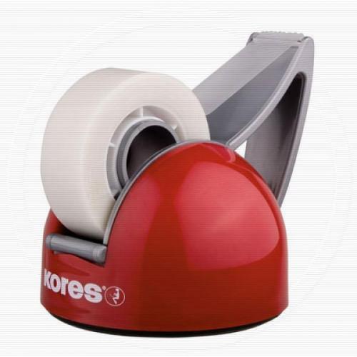Диспенсер для клейкой ленты канцелярской KORES DeskPot красный + клейкая лента
