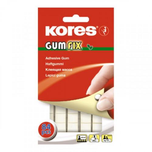Клейкая лента-масса KORES Gum Fix удаляемая белая 84 штуки в упаковке