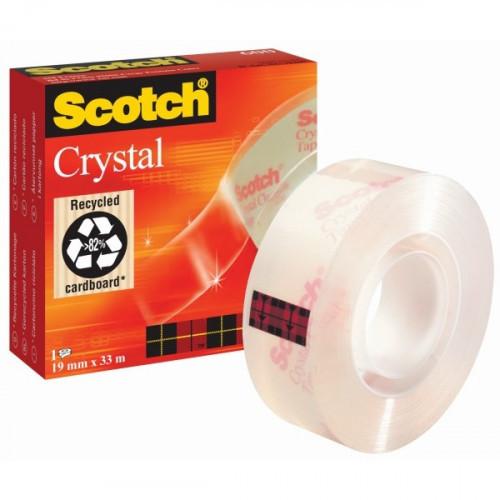 Клейкая лента 3M Scotch Cristal Кристальная 19 мм х 33 м прозрачная