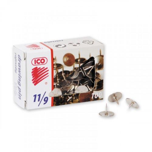 Кнопки канцелярские ICO металлические стальные 100 штук в упаковке