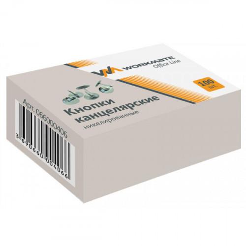 Кнопки канцелярские, металл/никелированные, d шляпки 10мм, 100шт/упак, картонная упаковка, OFFICE LINE