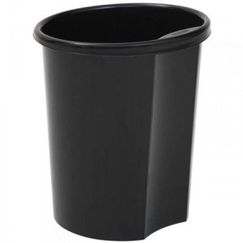 Корзина для бумаг цельная 12 литров с держателем СТАММ черная