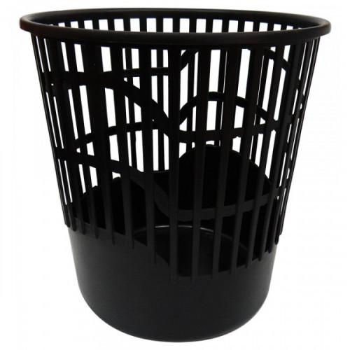 Корзина для бумаг 10 литров, круглая, пластик сетчатая, черная, WORKMATE U-Save