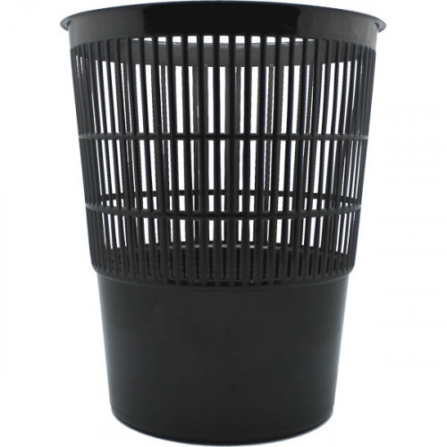 Корзина для бумаг 14л, круглая, пластик сетчатая, черная, Attomex